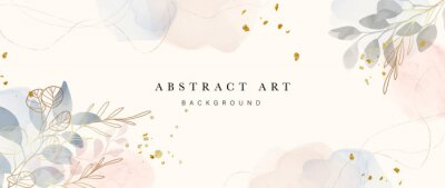 Naklejka Abstract art background vector. Luxury minimal style wallpaper with golden line art flower and botanical leaves, Organic shapes, Watercolor. Vector background for banner, poster, Web and packaging.