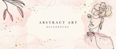 Naklejka Abstract art botanical background vector . Luxury wallpaper design with women face, leaf, flower and tree  with earth tone watercolor and gold glitter. Minimal Design for text, packaging and prints.