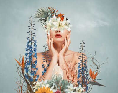 Naklejka Abstract art collage of young woman with flowers