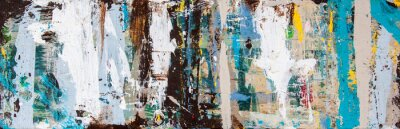 Naklejka Abstract art with splashes of multicolor paint, as a fun, creative & inspirational background texture - in long panorama / banner.