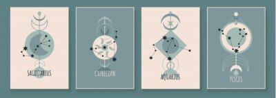 Naklejka Abstract art with zodiac celestial sign and constellation. Sagittarius Archer, Capricornus Goat, Aquarius Water Bearer, Pisces Fish. Wall art in vintage style. Minimalistic vector background design.