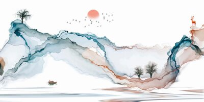 Naklejka Abstract background ink line decoration painting landscape artistic conception