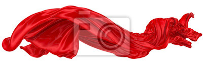 Naklejka Abstract background of red wavy silk or satin. 3d rendering image.