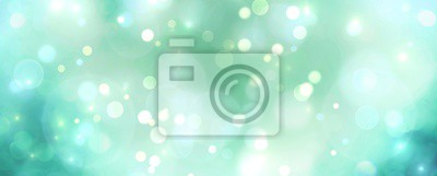 Naklejka Abstract blue and green bokeh background - Christmas or spring concept - Blurred bokeh circles
