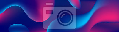 Naklejka Abstract blue and purple liquid wavy shapes futuristic banner. Glowing retro waves vector background