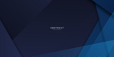 Naklejka Abstract blue background geometric dark blue background texture with overlap layers. Abstract polygonal pattern luxury dark blue background