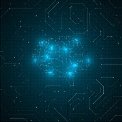 Naklejka Abstract brain illustration. Futuristic network graphic concept. Artificial intelligence technology advancement