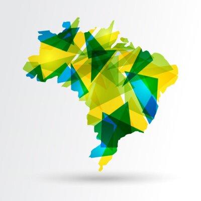 Naklejka Abstract Brazil map