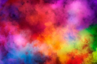 Naklejka Abstract clouds of color smoke colorful texture background. Colored fluid powder explosion, dust, vape smoke liquid abstract clouds design for poster, banner, web, landing page, cover. 3D illustration