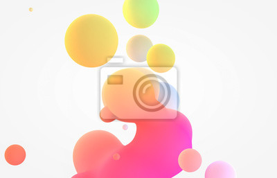 Naklejka Abstract colorful 3d art background. Holographic floating liquid blobs, soap bubbles, metaballs.