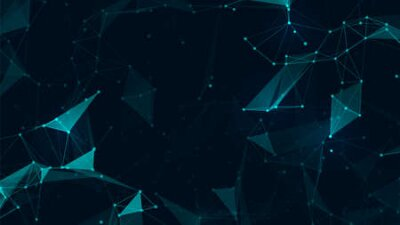 Naklejka Abstract connect polygon and lowpoly geometric space futuristic background. Vector illustration for web design