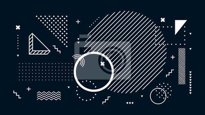 Naklejka Abstract dark background. Geometric shapes, black and white minimal memphis. Digital modern tech, futuristic geometrical abstract backdrop or wallpaper vector illustration