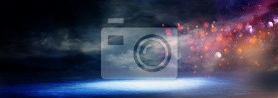 Naklejka abstract dark concentrate floor scene with mist or fog, spotlight, glitter for display
