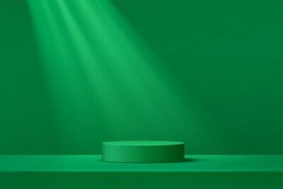 Naklejka Abstract dark green cylinder pedestal podium. Green empty room, Shadow of window. Vector rendering 3d shape, Product display presentation. Studio room concept, Minimal wall scene.