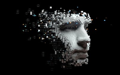 Naklejka Abstract digital human face.  Artificial intelligence concept of big data or cyber security. 3D illustration