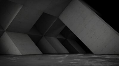 Naklejka Abstract empty concrete space with geometric shapes, contemporary architecture background, 3d render.