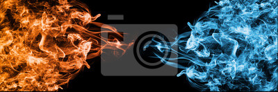 Naklejka Abstract Fire and Ice element against (vs) each other background. Heat and Cold concept