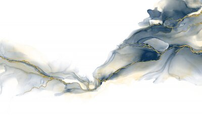 Naklejka Abstract fluid art painting background alcohol ink technique deep blue and gold with text space for banner, background in luxury style.
