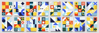 Naklejka Abstract geometric backgrounds. Neo geo pattern, minimalist retro poster graphics vector illustration set. Abstract pattern trendy with square and round colored