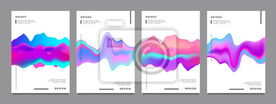 Naklejka Abstract gradient poster and cover design. Colorful fluid liquid shapes. Vector illustration.
