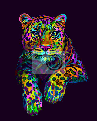 Naklejka Abstract, graphic, colorful in neon colors artistic portrait of a leopard on a dark purple background.