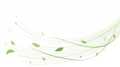 Naklejka Abstract green lines floral vector background. Vector illustration