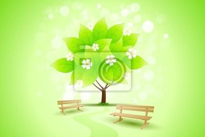 Naklejka Abstract Green Tree tła z kwiatami