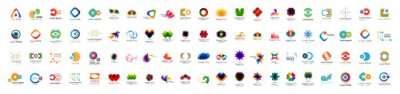 Naklejka Abstract Logo And Icon Set. Elements Collection Isolated On White - Vector. Flat Icons For Business Template Logo, Square Elements, Website, Business Symbol And Circle Elements. Abstract Medical Logo