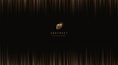 Naklejka Abstract luxury vertical glowing dot gold and black pattern background with copy space. Digital data technology halftone texture pixel design. Modern futuristic concept. Vector illustration