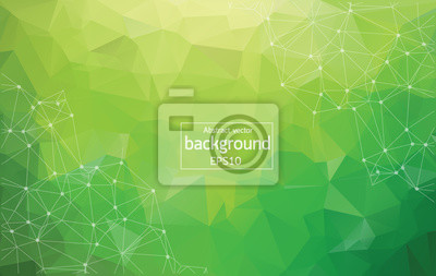Naklejka Abstract Multi green Polygonal Space Background with Connecting Dots and Lines. Geometric Polygonal background molecule and communication. Concept of science, chemistry, biology, medicine, technology.