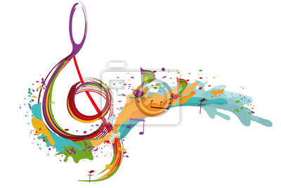 Naklejka Abstract musical design with a treble clef and colorful splashes and waves. Hand drawn vector illustration.