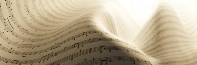 Naklejka Abstract musical notes background; art concepts, original 3d rendering, RF illustration