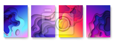 Naklejka Abstract paper cut background. Cutout fluid shapes, color gradient layers. Cutting papers art. Purple carving 3d vector posters