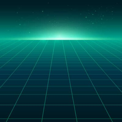 Naklejka Abstract perspective green grid. Retro futuristic neon line on dark background, 80s design perspective distorted plane landscape composed of crossed neon lights and laser beams. Vector illustration