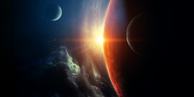 Naklejka Abstract planets and space background