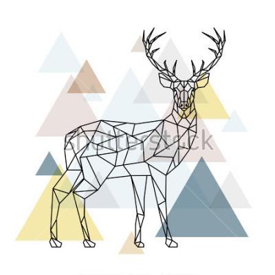 Naklejka Abstract polygonal deer. Geometric hipster illustration. Reindeer with side view. Scandinavian style. Vector illustration.
