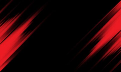 Naklejka Abstract red light speed dynamic on black technology futuristic background vector