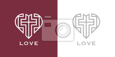 Naklejka Abstract religious cross and heart icon. Christian love logo. Vector illustration.
