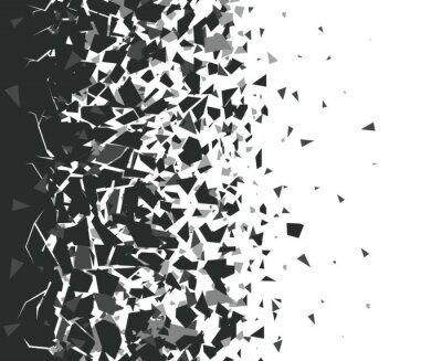 Naklejka Abstract shatter background. Exploded black pieces scatter, shattered triangles destruction pattern. Broken particles vector background illustration set. Black destroyed fragments design
