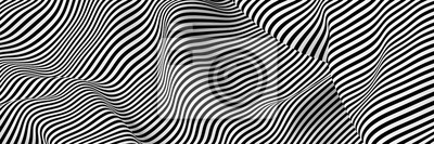 Naklejka Abstract striped surface, black and white original 3d rendering