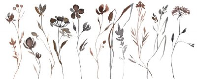 Naklejka Abstract Watercolor Autumn Flower Set. Herbarium in boho style. Field fall flowers. Frame fall flowers.