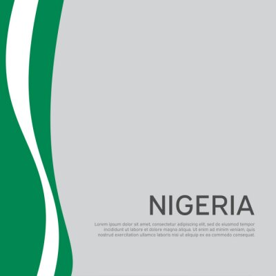 Naklejka Abstract waving nigeria flag. Creative background in nigeria flag colors for holiday card design. National poster. State nigerian patriotic cover, business booklet, flyer. Vector flat design