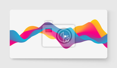 Naklejka Abstract wavy background with modern gradient colors. Trendy liquid design. Motion sound wave. Vector illustration for banners, flyers and presentation.