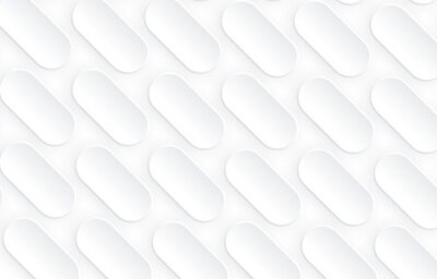 Naklejka Abstract white background with 3D oval shapes pattern, interesting white gray vector minimal background illustration.