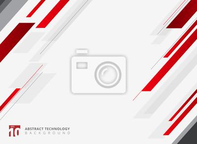 Naklejka Abstrakcjonistycznej technologii czerwonego metalu kolorowego błyszczącego ruchu diagonally tło.