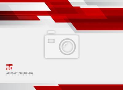 Naklejka Abstrakcjonistycznej technologii czerwonego ruchu tła błyszczący geometryczny ruch.