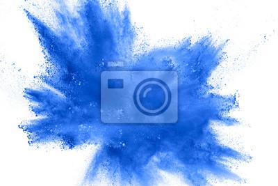 Naklejka Abstrakcjonistyczny błękitny pyłu wybuch na białym tle. Zatrzymaj ruch niebieskiego proszku w proszku. Malowane Holi na festiwalu.