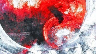 Naklejka Abstrakcjonistyczny czerwony i szary grunge ruchu skład. Nowoczesne jasne futurystyczne dynamiczne tło. Sztuka fraktalna do kreatywnego projektowania graficznego