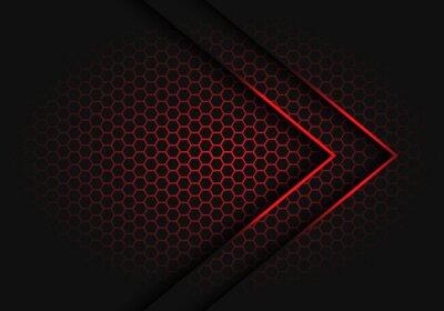 Naklejka Abstrakcjonistyczny czerwony strzała światła cienia kierunek na sześciokąt siatki wzoru projekta nowożytnej futurystycznej tło wektoru ilustraci.