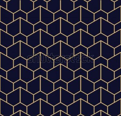 Naklejka Abstrakcjonistyczny geometryczny wzór z liniami. Bezszwowe tło wektor Niebiesko-czarna tekstura złota